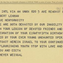 Telegram: 1963 March 25