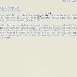Memorandum : 1951 April 3