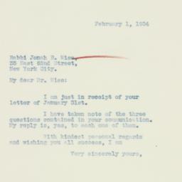 Letter : 1934 February 1