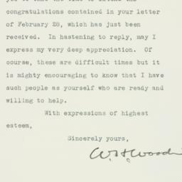 Letter : 1933 March 1
