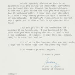 Letter : 1960 July 22