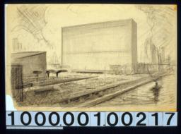 Perspective of building at N. end of complex with river in foreground : [Drwg. no.] 1,