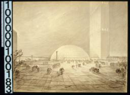 Perspective looking south toward domed building :Drwg #40,