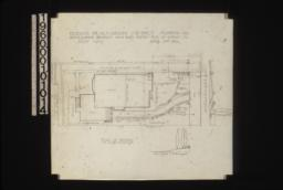 "Plan of grounds\, section of grade at ""A""-""B"" looking west\, elevation of grade looking north from house : Sheet no. 1\,"