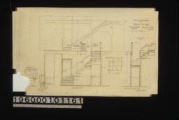 1/2 inch scale details of back stairs -- plans of windows\, partial plan\, elevation looking east\, section thro' upper run looking north :No. 50\,