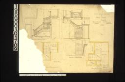 1/2 inch scale details of back stairs -- elevation looking south\, plan\, elevation looking west\, second floor plan :No. 23.