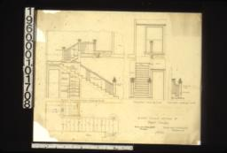 1/2 inch scale details of front stairs -- section thro' lower run looking south; elevation looking eats; elevation looking south; plan : No. 22.