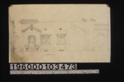 Front elevation\, section through front wall\, elevation of side of front entrance