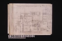 Floor plan; section and front elevation of bookcases and seat; elevation -- front of sideboard\, end of sideboard and French doors in dining room; 1 1/2 in. scale details of sideboard; typical section through steps :2.