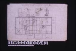 Foundation plan ; details -- chimney footing, footing for girder posts, section at A-B, section thro' wall :1.