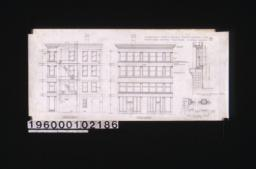 North elevation; south elevations; vertical section thro' windows in 4th story; detail of box frames and mullions :No. 7.