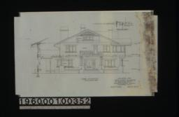 East elevation with section through wall\, section thru pergola showing wall beam :Sheet no. 5.