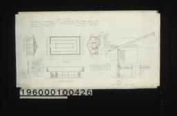 Lathhouse -- west elevation\, plan\, east elevation\, F. S. door detail\, inch scale door detail in section and elevation\, south elevation\, inch scale section through wall and roof and tables\, detail drawing of lath spacing : Sheet no. 8\,