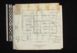 Foundation plan; detail drawings of -- footings for kitchen chimney\, section thro' wall :1.
