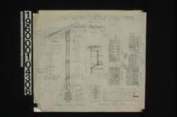 Typical section through wall with exterior and interior elevations of window frames\, detail of ridge\, detail of vents in gable ends\, detail of splice in ceiling; details of front door -- elevation\, F.S. section; dining room details (finish rw'd\, flat grain) -- west end\, north end; living room details (finish rw'd\, flat grain} -- west end with plan\, north end with section through fireplace :Sheet no. 5.
