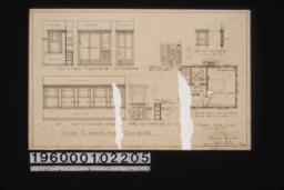 Second floor plan; second fl. interior details -- case in closet off dressing rm\, closet off bedroom\, medicine case in dressing rm\, side of sleeping porch\, towel case in bathr'm :Sheet no. 3.