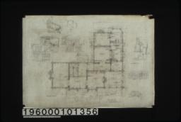 First floor plan; section B-S thru billiar rm stairs looking north\, section L-E looking east\, hall and elevationof stairs looking south\, elevation of hall looking east\, west elevation of billiard room stairs\, hall and elevation of stairs looking ewest elevation of rear stairs on line R-S\, south elevation and west elevation ofbreakfast room :Sheet no. 2.