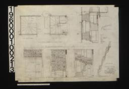 Stairway details -- plan at second floor\, plan at first floor\, section on line A-A\, section thro' landing\, inside elevation of string\, plan of backs of risers\, north elevation\, west elevation\, south elevation\, elev. of inside string as it would appear if straightened out in plan :Sheet no. 14.