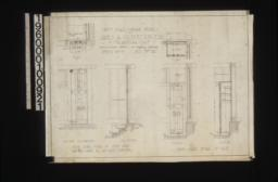 Inch scale garage details -- inch scale of steps and batten foor in south east corner in plan\, outside elevation\, and section; inch scale detail of case in plan\, front elevation\, and section :Sheet no.3\,
