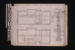 Office -- floor plan\, foundation plan with sections\, section thro' wall :Sheet no. 1.