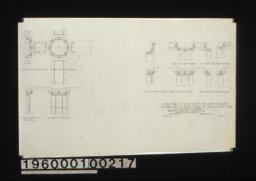 """3/4"""" scale details of capitals & beams for columns & pilasters -- ceiling plan of side pilasters\, ceiling plan of columns\, side elevation of side pilasters\, elevation of columns\, ceiling plan of front pilasters\, ceiling plan of corner pilasters\, side elev. of front pilasters\, front elev. of all pilasters\, side elevation of corner pilasters :Sheet no. 31 /"""