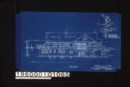 "West elevation with section through wall; 3/4"" scale detail of porte cochere support (position determined by pitch of roof and relation to frame line of house as shown) : Sheet no 5."
