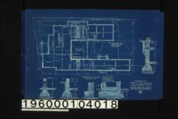 Foundation plan; section thro' piers\, section thro' outside wall\, section thro' kitchen chimney\, section thro' living r'm chimney\, section thro' C-C :No. 1.
