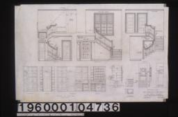 Stair details -- east\, north\, west\, plan; details of cases in pantry -- south\, west\, north\, east; elevation and plan of case in bathroom no. 2; elevation and section of medicine cases; elevation typical of closets : Sheet no. 10.