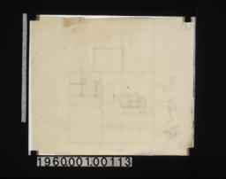 Sketch of second floor plan; three rough sketches -- front elevation\, elevation of stairway\, unidentified subject