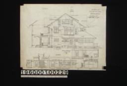 North elevation\, section through wall; details -- section showing living room (showing nook & mantel)\, hall and parlor\, elevations of side of nook and stairs :6.