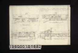 Front elevation, section showing south side of living rm., sectional elevation looking north, section thro' living rm. looking west :Sheet no. 4,