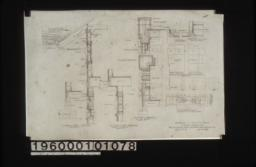 Typical wall section, section thro' overhang (front elevation), section thro' wall of sun room with plan of corner, plan X-Y (west elevation), plan A-B (corner of sleeping porch, west elevation), details of corner over entrance, 3 inch scale detail of splices in timber work : Sheet no. 9.