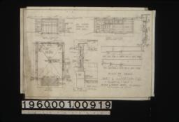 Front elevation\, north elevation\, details in section of window frames\, plan\, inch scale section through wall\, inch scale detail of north end of large beams\, inch scale detail of south end of large beams\,