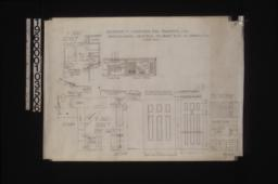 Details of gable ends; details of front porch -- elevation\, section; elevations of fireplaces -- living room\, dining room; elevations and full size details of front door & front screen door :Sheet no. 5.