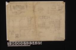 Living room mantel, bookcase & desk -- elevation, plan, section thru bookcase, section thru desk ; half elevation of pigeon holes in desk ; F.S. details A-J of living room mantel :Sheet no. 9.