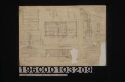 Potting house -- section C-C\, section D-D\, north elevation\, section B-B\, plan\, west elevation\, F.S.D. of boards and battens\, section A-A through wall\, outside door section\, south elevation :[Sheet no. 1]