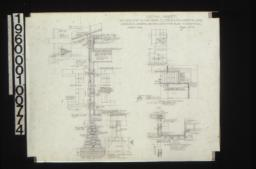 Detail sheet -- section thro' wall with partial exterior and interior elevations\, detail drawing of typical girder post footings\, framing plan of balcony roof showing rafters\,detail of balcony and roof (section on V-V\, see west elevation)\, jamb atcorner (section O-O\, see west elevation)\, detail of landing overhang (section thro' P-P looking north\, see 2nd floor plan) :Sheet No. 8\,