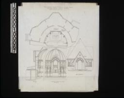 Plans showing change of the Cravens memorial window -- plan\, section\, elevation looking east (interior)\, west elevation. (2)