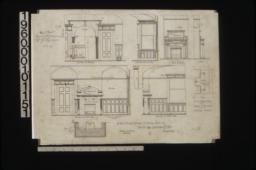 1/2 inch scale details of dining room -- elevation of alcove\, side elevation of bay\, elevation of east side\, elevation of south side\, plan of mantel; 1/2 inch scale details of oak mantel in sitting room -- front elevation\, side elevation\, plan :12\,