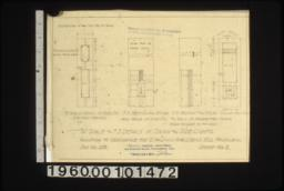 """3/4"""" scale and F.S. details of doors and side lights -- 3/4"""" scale detail of side 1'ts (revised design); F.S. section thru stiles and rails of side 1'ts; F.S. section thru stiles and rails of rabbetted doors (make rabbet to fit lock); detail of rabbetted doors :Sheet no. 3."""