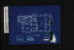 First floor plan; interior details -- fireplace in lining r'm\, sideboard in dining r'm :[She]et no. 2.