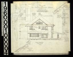 Front elevation; 1 1/2 in. scale details of pergola; section thro' rake; section thro' main wall of house : No. 4.