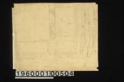 F.S.D. of leaded galss in dining r'm lantern -- quarter plan\, drawing of shapes for glass for sides of lantern :Sheet no. 27\,