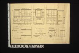 1/2 insch scale details of pantry and case in dressing room -- elevation of south side\, elevation of west side\, elevation of north side\, plan of pantry\, case in dressing room :No. 25.