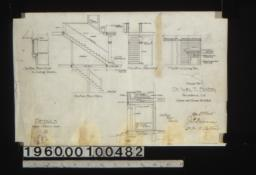 Details -- section thro' oriel in living room\, section thro' stairs\, elevation of stairs and hall\, elevation of mantel in living rm\, section thro' porch :8.