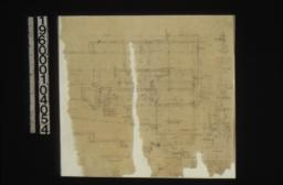 """Foundation plan; section B-B\, brick water table with plan at corner\, typical wall section\, section C-C\, sections through post footings and """"A"""" walls up to girders."""