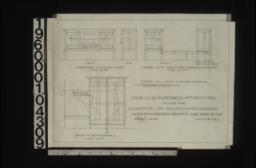 Inch scale details of furniture -- front and end of sideboard for dining room (made of O.P.); front and side showing section of shelf of cupb'ds with shelf between for dining r'm (made of O.P.); case and seat for hall (made of O.P.) :Sheet no. 18\,