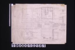Details\, plan and elevations of present garage and new chauffeur's cottage -- floor plan\, north elevation\, west elevation\, section thru passage ceiling\, typical wall section; details of garbage receptacle -- part elevation with plans of jamb and mullion\, section : Sheet no. 5 /