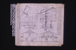 East elevation ; west elevation ; elevation, plan and sections of roof structure ; section through wall showing exterior and interior elevations of window, detail of mullion, detail of stairs at 2nd story, front view of bracket, detail of shingles ; side and east elevations of stairs :4.