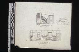 1/4 in. scale detail of hall showing stairs and section of seat; 1/4 in. scale detail of hall north side.